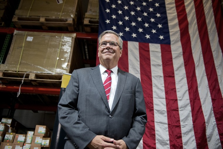 Former Florida Gov. Jeb Bush, attends an event with members of the National Federation of Independent Business at Illuminating Technologies Inc., in Greensboro, N.C., on Sept. 24, 2014.