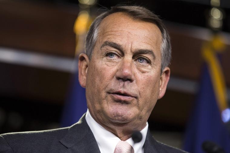 Speaker of the House John Boehner (R-OH) speaks to the media on Capitol Hill in Washington July 10, 2014.