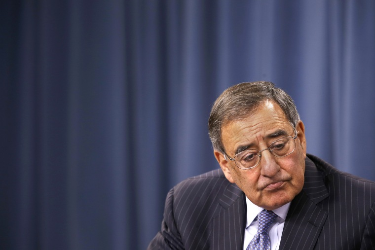 Leon Panetta listens to a question during at a news conference at the Pentagon, Thursday, Sept. 27, 2012.