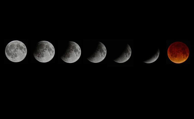 A composite picture shows the blood moon total lunar eclipse in seven stages as seen from Miami, Florida, April 15, 2014.
