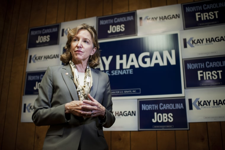 Sen. Kay Hagan, D-N.C., speaks with reporters during an event with volunteers and supporters at a campaign office in Statesville, N.C., September 24, 2014.