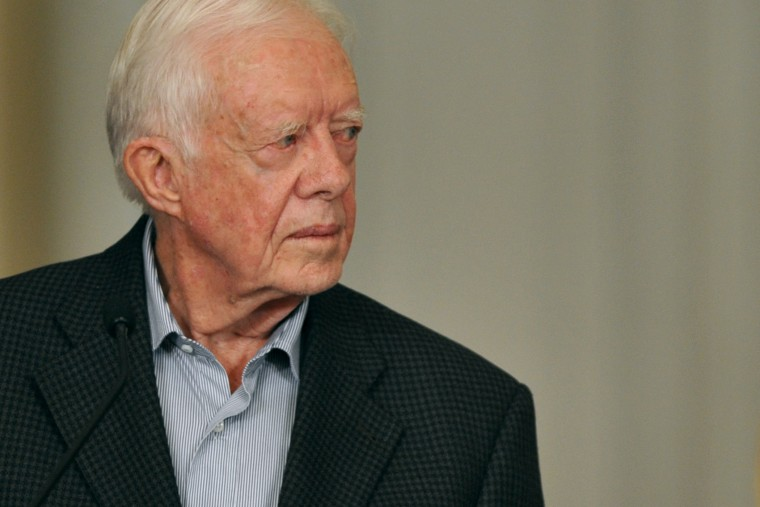 Jimmy Carter speaks during a press conference on Jan. 12, 2013, at Narino Presidential Palace in Bogota, Colombia.