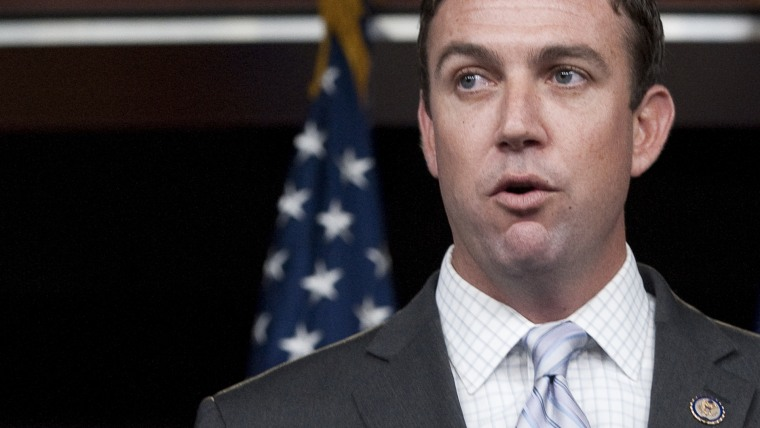 Rep. Duncan Hunter, R-Calif., participates in a news conference.