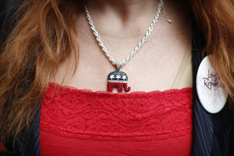 An attendee wears a GOP elephant necklace during the California Republican Party Spring Convention in Burlingame, California, March 16, 2014.