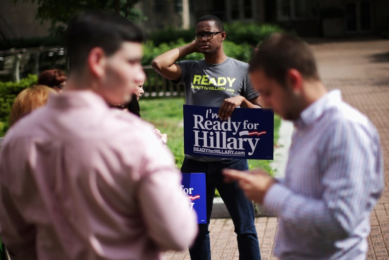 Volunteers for the Ready for Hillary Clinton for President 2016 Super PAC canvas people on the campus of George Washington University June 13, 2014.