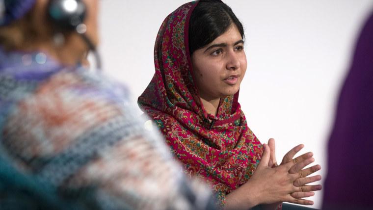 Pakistani rights activist Malala Yousafzai speaks at the 'Girl Summit 2014' in Walworth Academy on July 22, 2014 in London, England. (Oli Scarff/Getty)