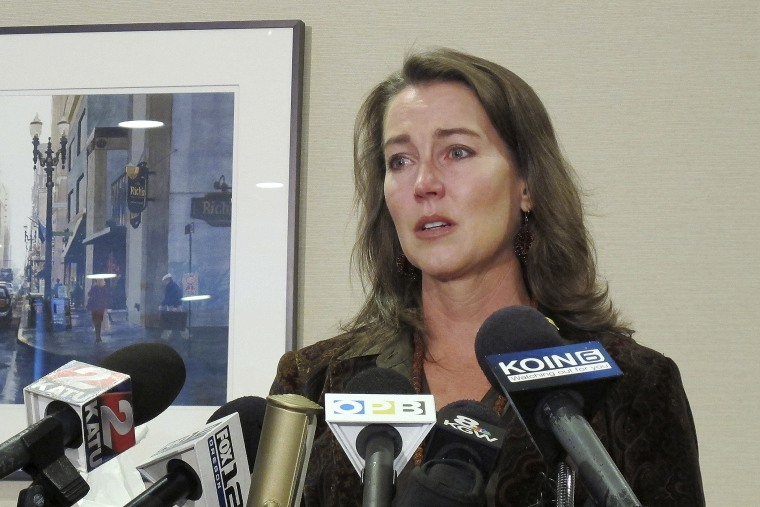 Cylvia Hayes, fiancee of Oregon Gov. John Kitzhaber, speaks at a news conference in Portland, Ore. on Oct. 9, 2014. (Photo by Gosia Wozniacka/AP)
