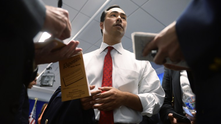 Rep. Joaquin Castro, D-Texas, talks with reporter after an event. (Photo By Tom Williams/CQ Roll Call/Getty)