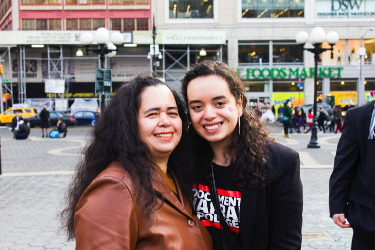 Undocumented youth activist Angy Rivera, pictured at right.