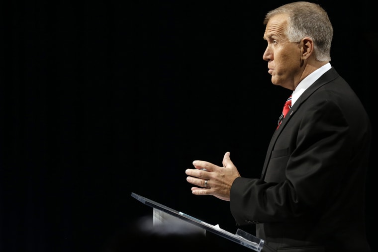 North Carolina Republican Senate candidate Thom Tillis speaks during a debate with Sen. Kay Hagan, D-N.C. at UNC-TV studios in Research Triangle Park, N.C. on Oct. 7, 2014. (Photo by Gerry Broome/Pool/AP)