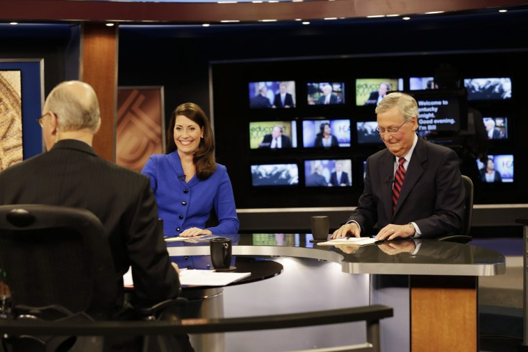 Minority Leader U.S. Sen. Mitch McConnell (R) and Kentucky Secretary of State Alison Lundergan Grimes (D) rehearse before their debate on October 13, 2014 in Lexington, Ky. (Photo by Pablo Alcala/Pool/Getty)