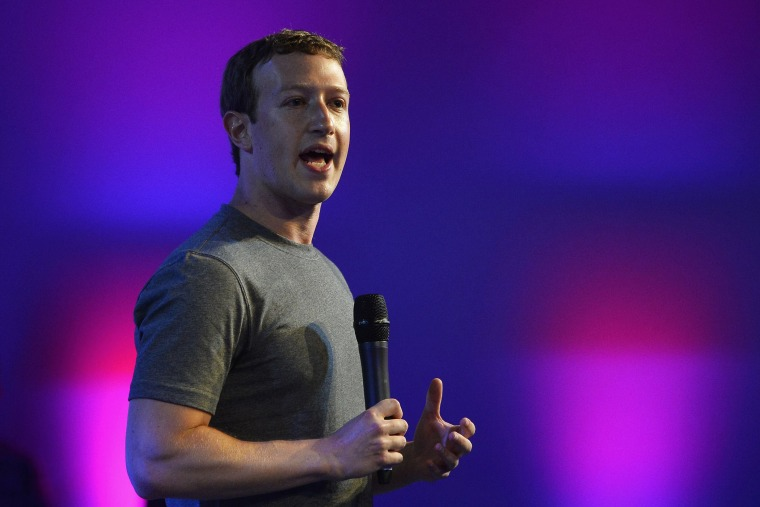 US chairman and chief executive of Facebook Mark Zuckerberg gestures as he announces the Internet.org Innovation Challenge in India in New Delhi on Oct. 9, 2014.