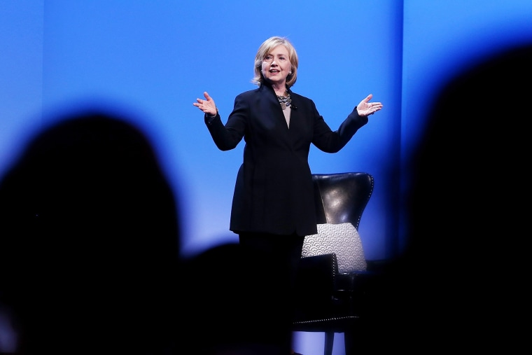 Former U.S. Secretary of State Hillary Clinton delivers a keynote address during the 2014 DreamForce conference on Oct. 14, 2014 in San Francisco, Calif.