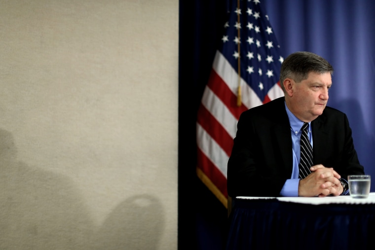 New York Times reporter James Risen participates in a news conference, at the National Press Club on Aug. 14, 2014 in Washington, DC.