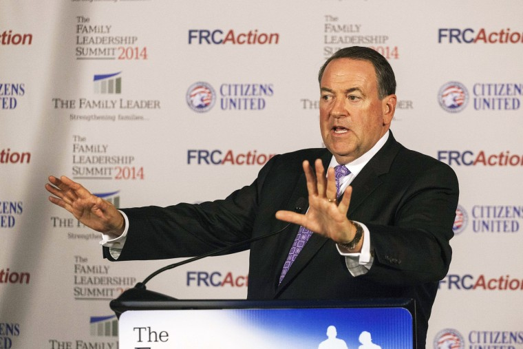 Former Arkansas Governor Mike Huckabee speaks after the Family Leadership Summit in Ames, Iowa on Aug. 9, 2014.