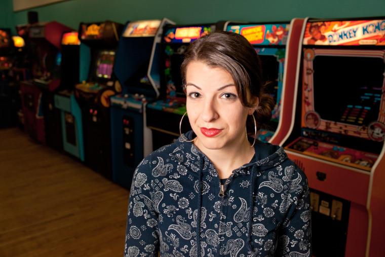 Anita Sarkeesian at The Rusty Quarters Retro Arcade and Museum in Minneapolis, Minn. in Jan. 2013.