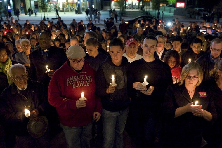 People participate in a candlelight vigil for Rutgers University freshman Tyler Clementi at Brower Commons on the Rutgers campus in New Brunswick, N.J. on Oct. 3, 2010.
