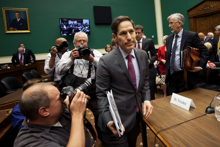 CDC Director Dr. Tom Frieden leaves his seat after testifying on Capitol Hill in Washington on Oct. 16, 2014.