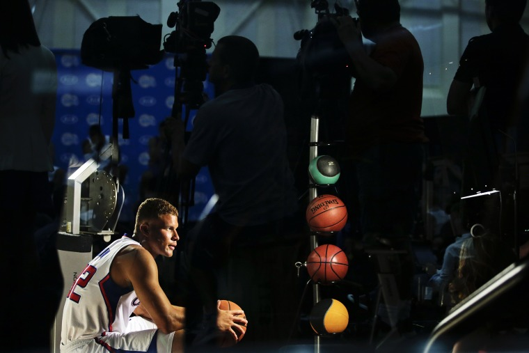 Los Angeles Clippers' Blake Griffin poses during a film shoot at the NBA basketball team's media day, Sept. 29, 2014, in Los Angeles, Calif. (Photo by Jae C. Hong/AP)