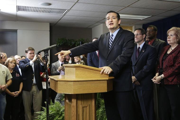 U.S. Sen. Ted Cruz addresses a crowd at a church on Oct. 16, 2014 in Houston, Tex.