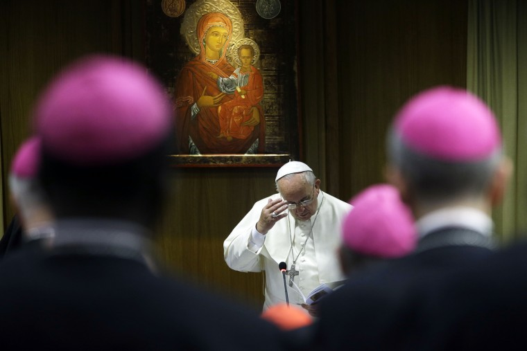 Pope Francis attends a morning session of a two-week synod on family issues at the Vatican, Oct. 13, 2014. (Photo by Gregorio Borgia/AP)