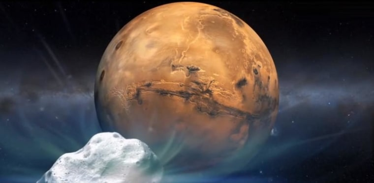 An artist's concept of Comet Siding Spring swinging past Mars.
