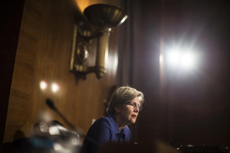 Sen. Elizabeth Warren (D-Mass.) speaks during a hearing on Capitol Hill in Washington, D.C., Nov. 12, 2013. (Photo by Gabriella Demczuk/The New York Times/Redux)
