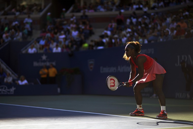 Serena Williams prepares for a serve during the semifinals of the 2013 U.S. Open tennis tournament, Sept. 6, 2013, in New York, N.Y. (Photo by David Goldman/AP)