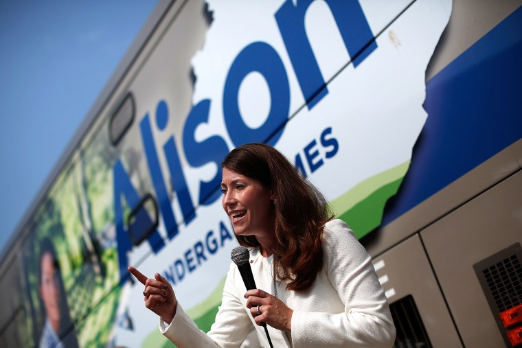 Kentucky's Democratic U.S. Senate nominee, and Kentucky Secretary of State, Alison Lundergan Grimes speaks at the opening of her Paducah campaign office Aug. 1, 2014 in Paducah, Ky. (Photo by Win McNamee/Getty)