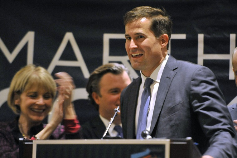 Seth Moulton at a Democratic Party unity breakfast Wednesday, Sept. 10, 2014, in Boston.