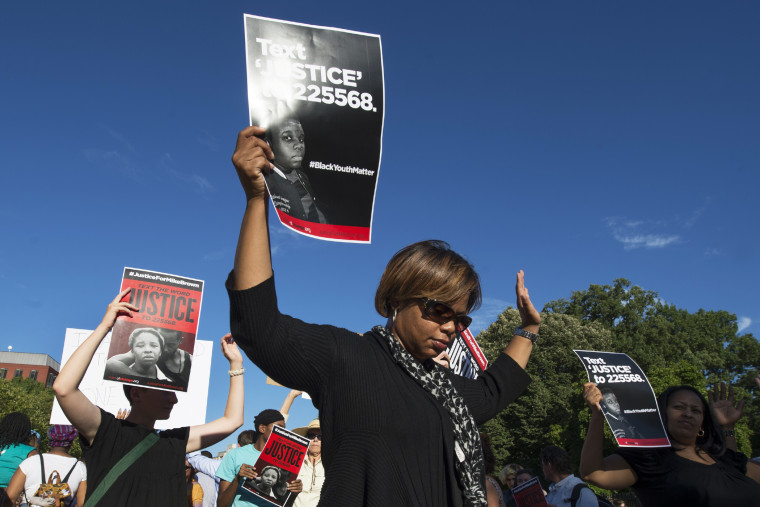 Missouri State Sen. Jamilah Nasheed marches in support of Michael Brown