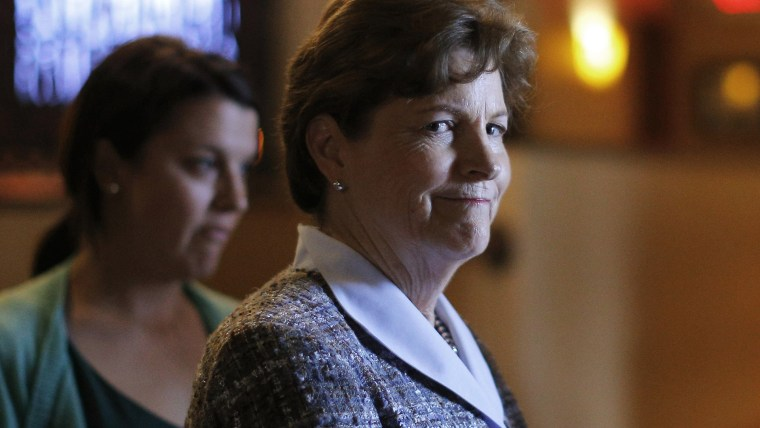 U.S. Senator Jeanne Shaheen arrives for a campaign stop at the Firefly American Bistro in Manchester, N.H. on Sept. 29, 2014.