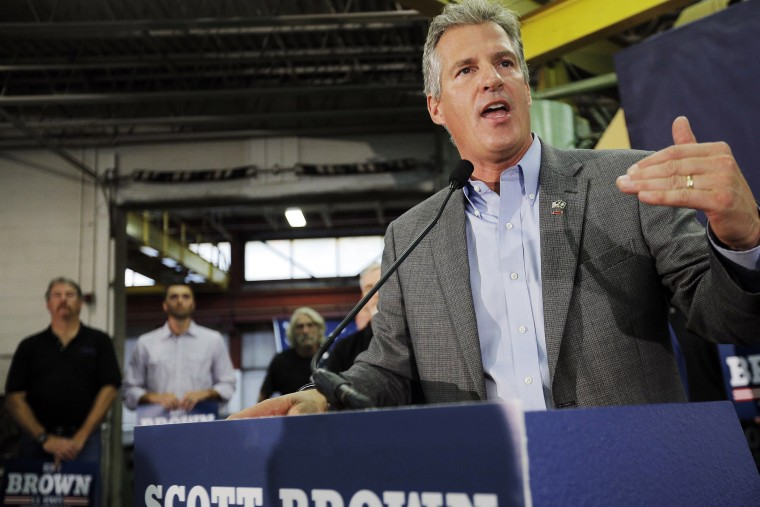Republican candidate for the United States Senate Scott Brown speaks at a campaign rally at Gilchrist Metal Fabricating in Hudson, N.H. on Oct. 5, 2014.