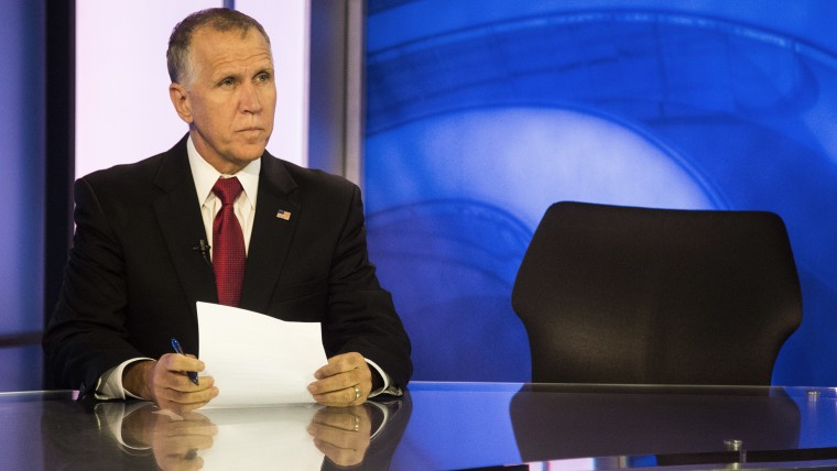State Speaker of the House, Thom Tillis, prepares to answer questions during a live televised roundtable Tuesday, Oct. 21, 2014 at Time Warner Cable News studios in Raleigh, N.C.