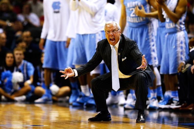 Head coach Roy Williams of the North Carolina Tar Heels reacts during the third round of the 2014 NCAA Men's Basketball Tournament on March 23, 2014 in San Antonio, Texas.