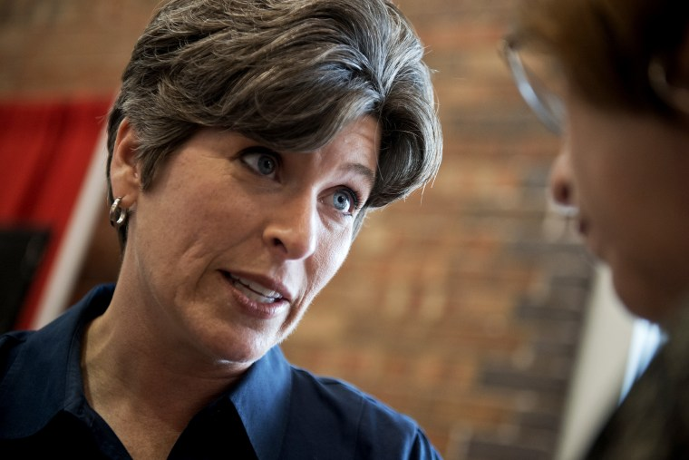 Joni Ernst, Iowa Republican Senate candidate, campaigns at the 2014 Iowa State Fair in Des Moines, Iowa, on Aug. 8, 2014.