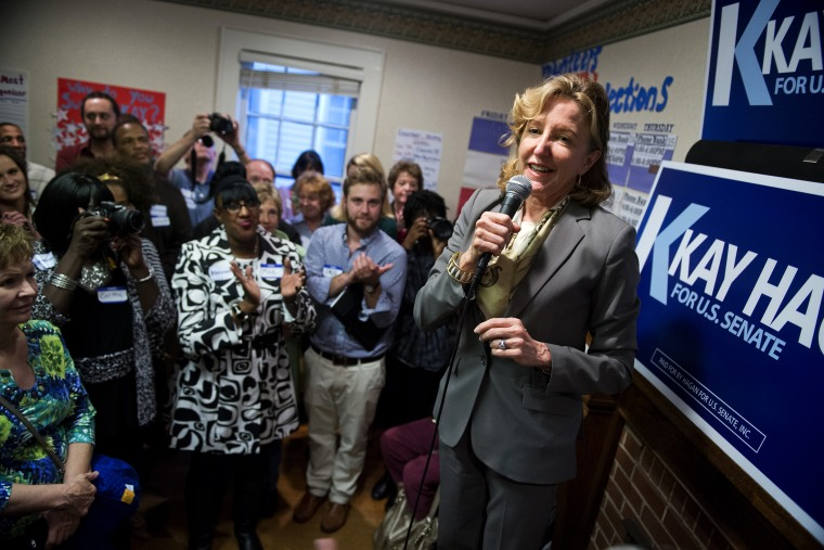 Sen. Kay Hagan, D-N.C., speaks at an event with volunteers and supporters at a campaign office in Statesville, N.C., on Sept. 24, 2014.