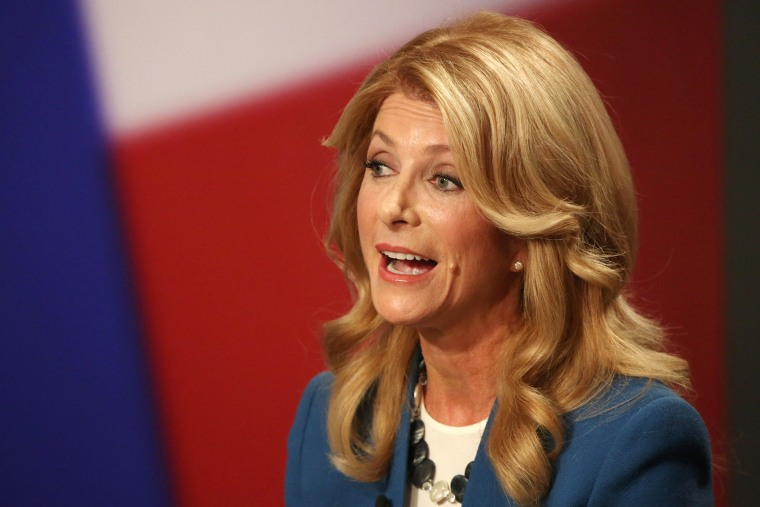 Democratic Gubernatorial candidate and Texas State Senator Wendy Davis responds to a question during the final gubernatorial debate in Dallas on Sept. 30, 2014. (Photo by Andy Jacobsohn/The Dallas Morning News/Pool/AP)