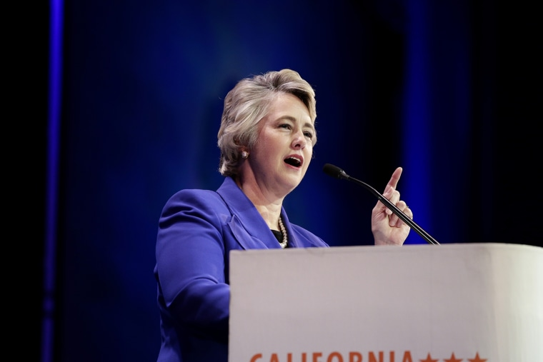 Houston Mayor Annise Parker speaks during a general session at the California Democrats State Convention on March 8, 2014, in Los Angeles, Calif. (Photo by Jae C. Hong/AP)