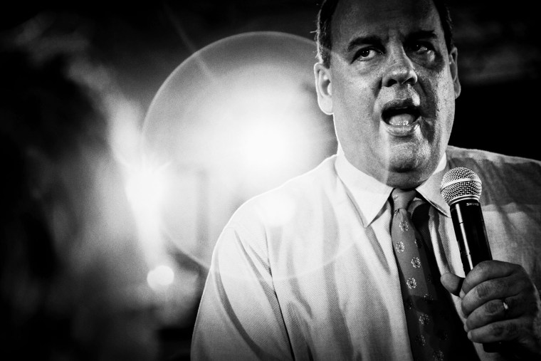New Jersey Gov. Chris Christie holds a Town Hall meeting in Franklin, N.J. on April 15, 2014. (Photo by Mark Peterson/Redux)