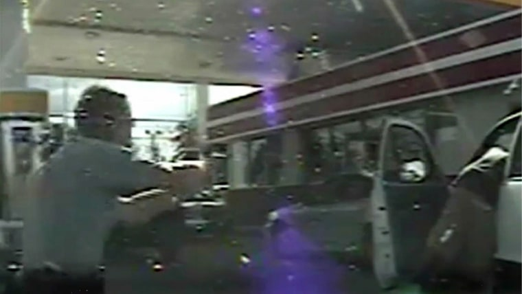 A frame grab reportedly from a South Carolina state trooper dashcam made available by the South Carolina Department of Public Safety on Sept. 25, 2014 shows South Carolina State Trooper Sean Groubert (L) as he moves across the screen shouting at unarmed L