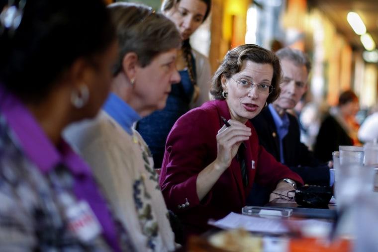 Georgia Democratic US Senate candidate Michelle Nunn hosts a roundtable discussion in Atlanta, Ga. on Oct. 24, 2014.