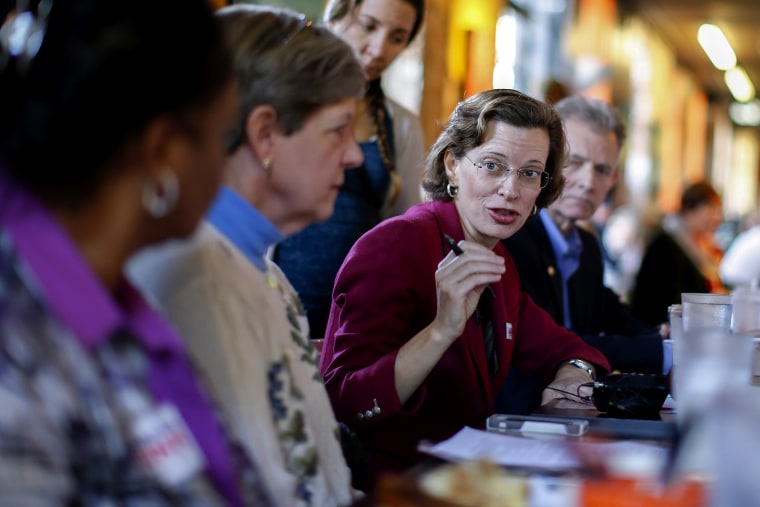 Georgia Democratic US Senate candidate Michelle Nunn hosts a roundtable discussion in Atlanta, Ga. on Oct. 24, 2014.