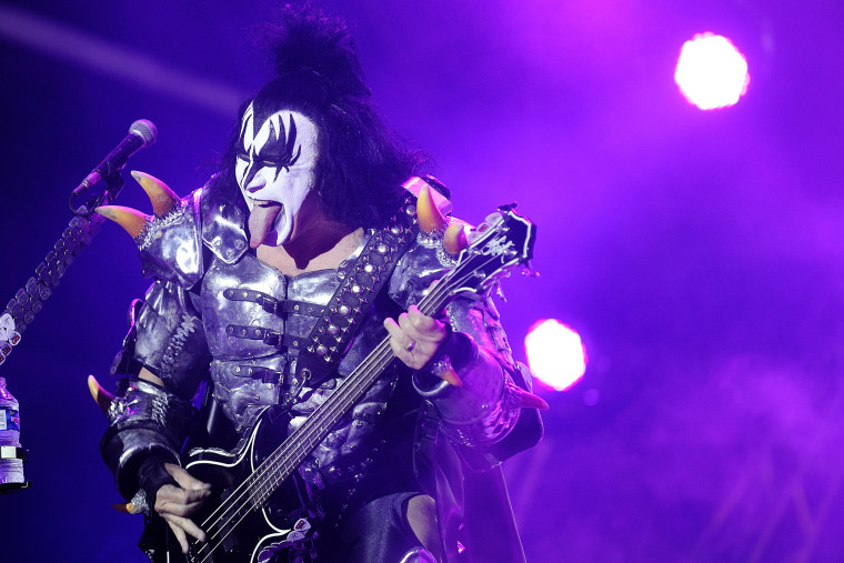 The bassist of US rock band Kiss Gene Simmons performs on stage during the Hellfest Heavy Music Festival on June 22, 2013 in Clisson, western France. (Photo by Jean-Sebastien Evrard/AFP/Getty)