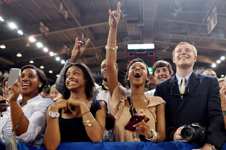 Supporters cheer as US President Barack Obama arrives to speak at North Carolina State University in Raleigh, N.C. in 2011.