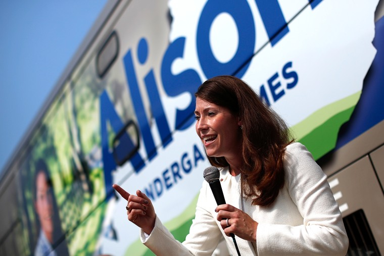 Kentucky's Democratic U.S. Senate nominee, and Kentucky Secretary of State, Alison Lundergan Grimes speaks at an event Aug. 1, 2014 in Paducah, Ky. (Photo by Win McNamee/Getty)