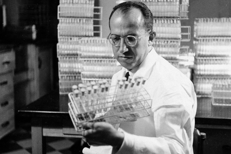 Dr. Jonas Salk, developer of the polio vaccine, is shown in his lab in Pittsburgh, Pa., Oct. 7, 1954. (Photo by AP)