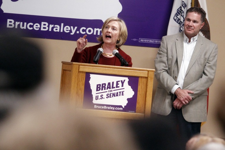 Former Secretary of State Hillary Rodham Clinton speaks at an event to support Rep. Bruce Braley in his senatorial race, Oct. 29, 2014, in Cedar Rapids, Iowa. (Matthew Holst/AP)