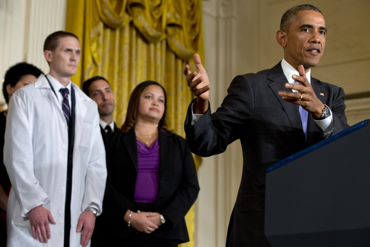 President Barack Obama speaks at an event with American health care workers fighting Ebola, Oct. 29, 2014. (Jacquelyn Martin/AP)