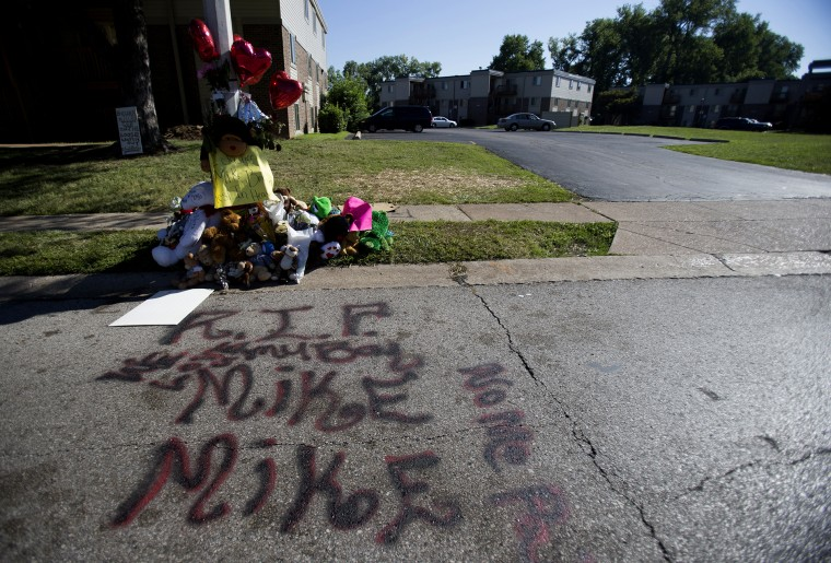 A makeshift memorial is pictured near where Michael Brown was shot to death in Ferguson, Mo., on August 12, 2014.